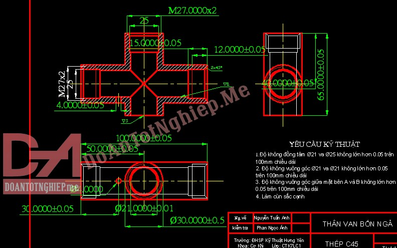 Thiết kế quy trình gia công chi tiết thân van 4 ngả B1
