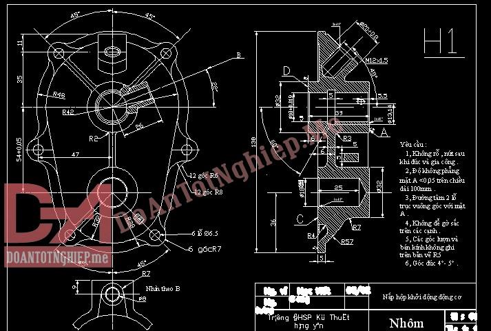 Thiết kế quy trình gia công chi tiết nắp hộp khởi động động cơ H1