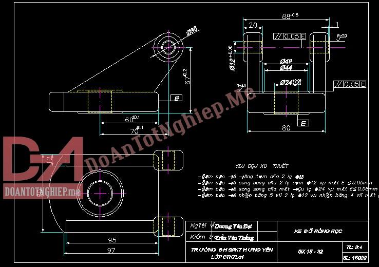 Thiết kế quy trình gia công chi tiết ke đỡ ròng rọc H14