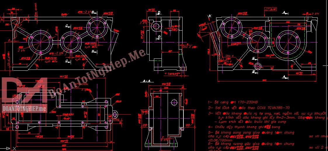 Thiết kế quy trình gia công chi tiết thân hộp số GT10 (H28)
