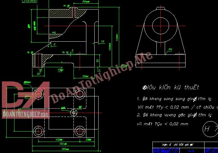 Thiết kế quy trình gia công chi tiết gối đỡ H7